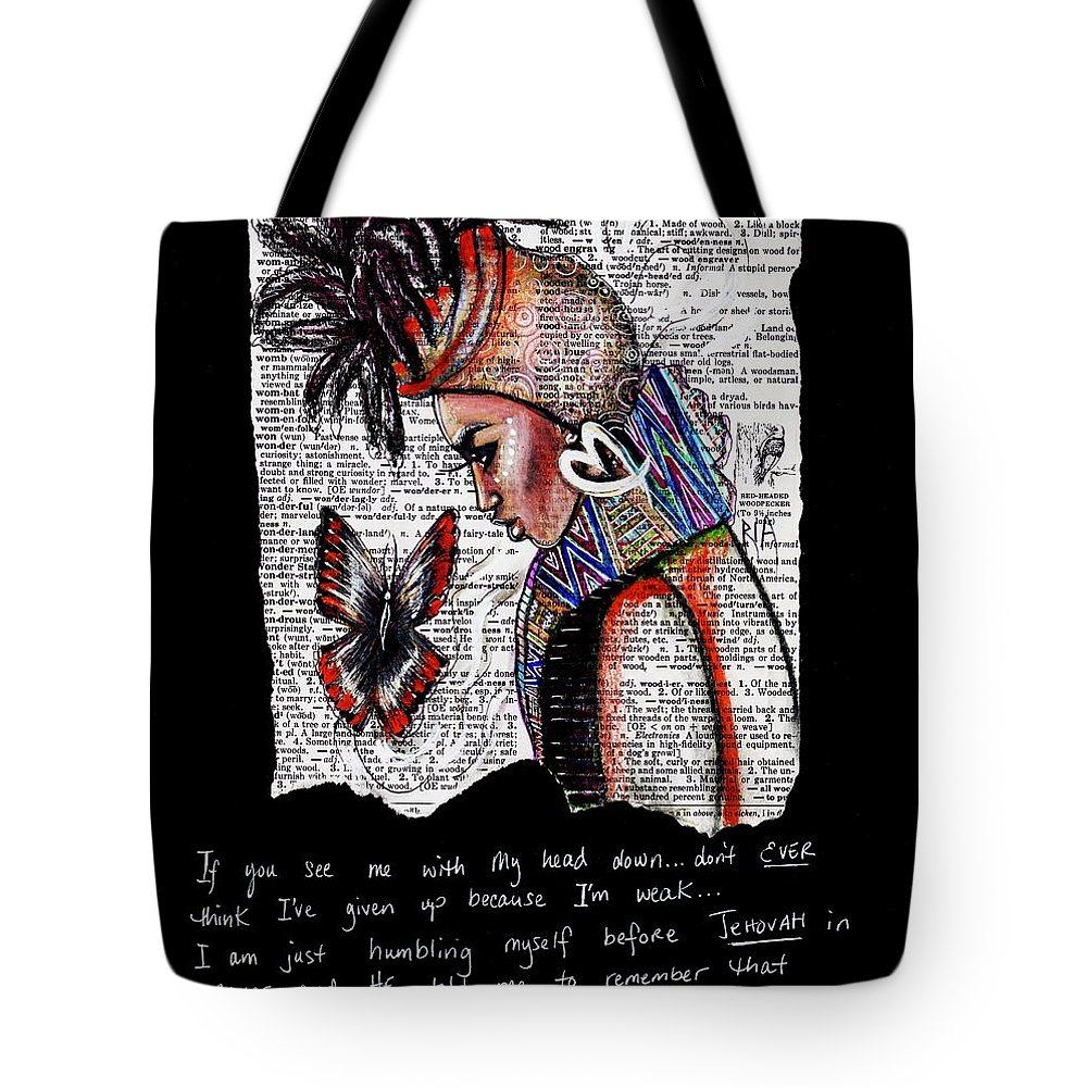 Words Tote Bag featuring the drawing I Am A Woman by Artist RiA