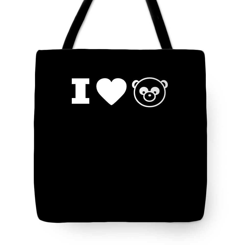 Funny Tote Bag featuring the digital art I Love Panda Bear by Crypto Keeper