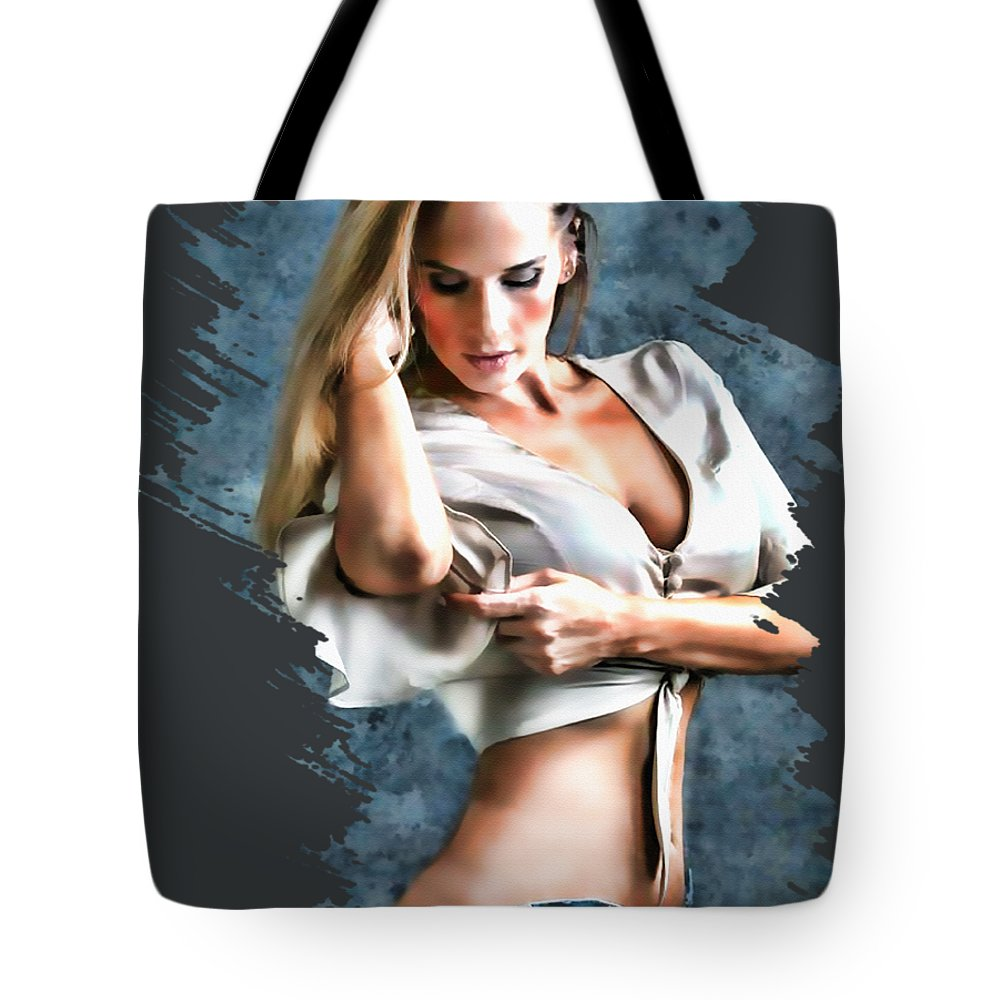 #pinup Art #pinup Girls #sexy #bra #panties #girls #babes #love #hotties #redheads #lingerie #rockabilly #home Décor #man Cave #interior Design #graphic Design #digital Art #architecture #real Estate #decorating #fashion #office Décor #style #auction Investment #porn Tote Bag featuring the digital art I.allyson. by Robert Everett