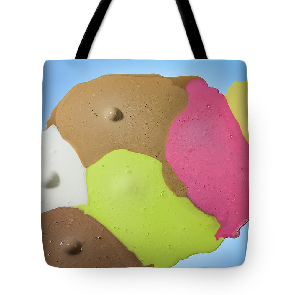 Melting Tote Bag featuring the photograph Ice Cream Scoops Melting, Different by Jonathan Knowles