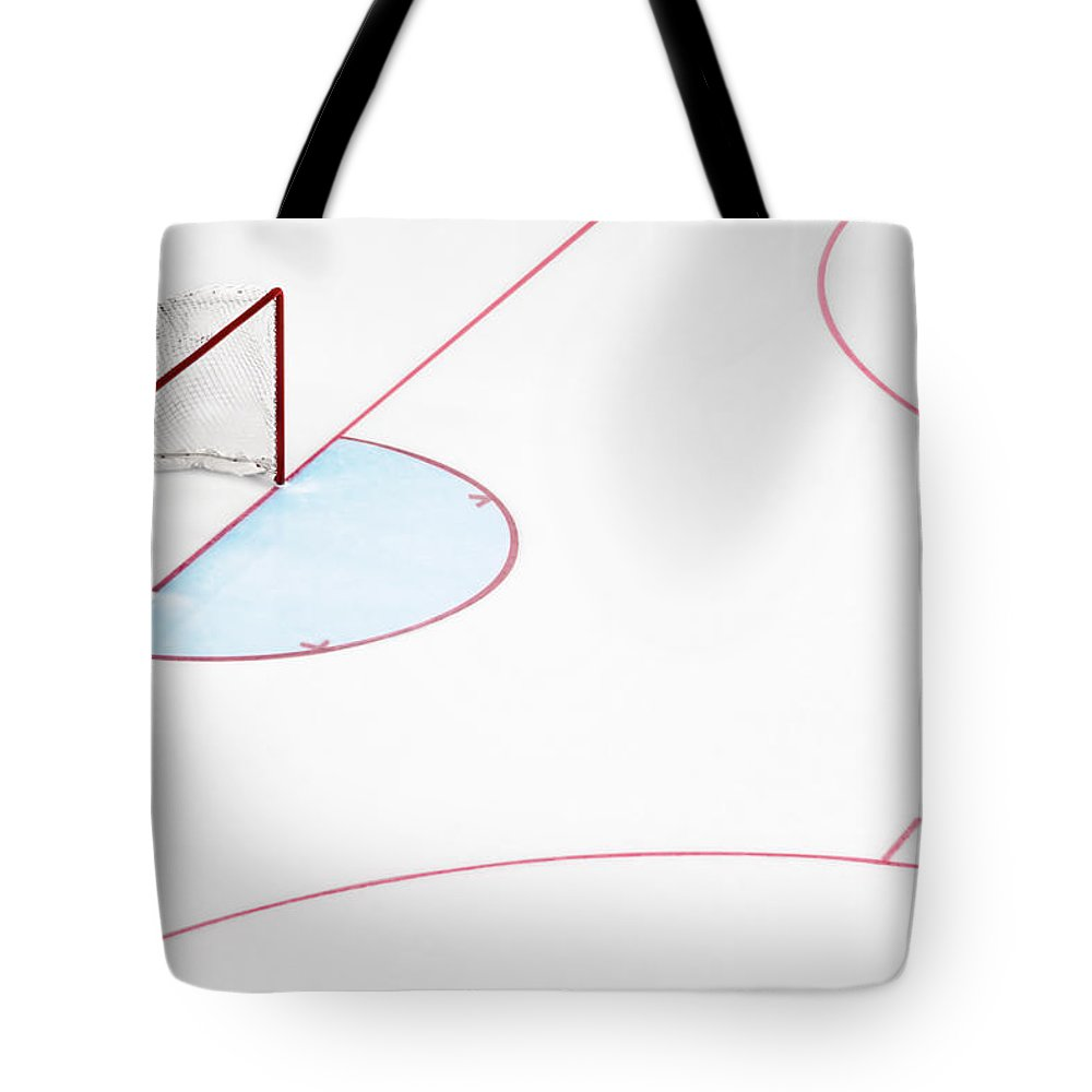Sport Tote Bag featuring the photograph Ice Hockey Goal Net And Empty Rink by David Madison