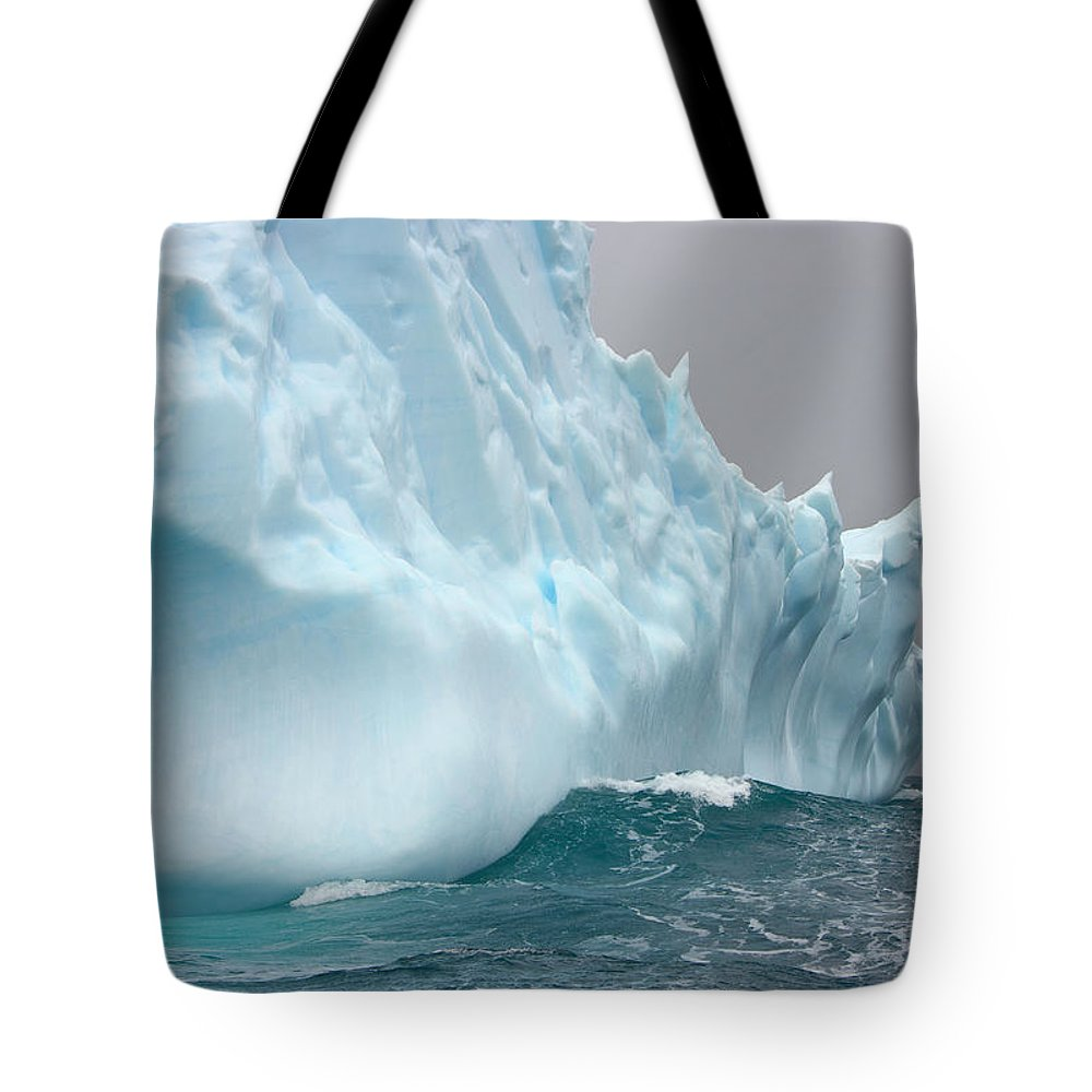 Scenics Tote Bag featuring the photograph Iceberg And Sea Waves, South Georgia by Eastcott Momatiuk