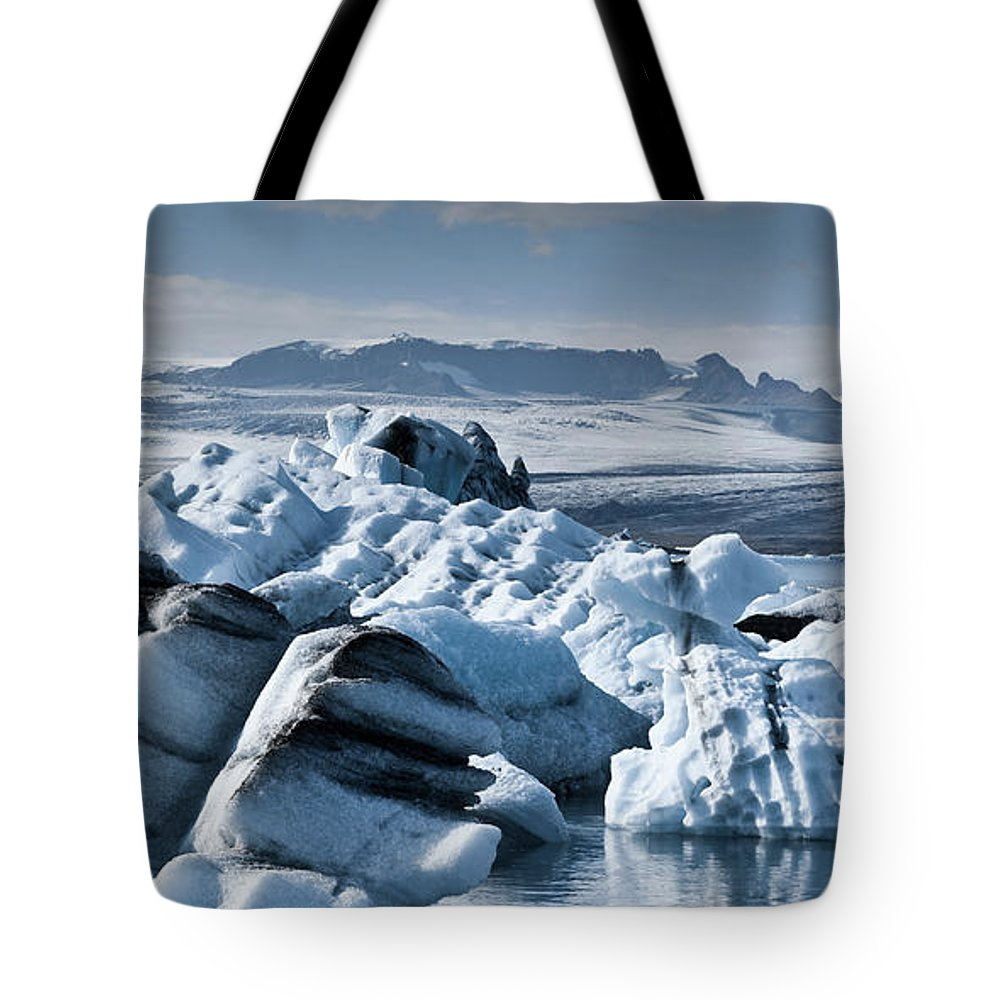 Iceberg Tote Bag featuring the photograph Icebergs In Iceland by Icelandic Landscape