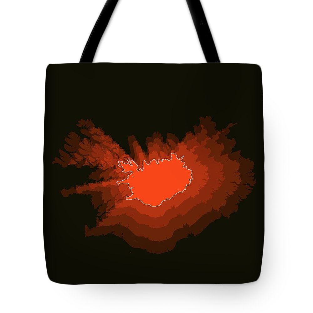Map Of Iceland Tote Bag featuring the digital art Iceland Radiant Map I by Naxart Studio