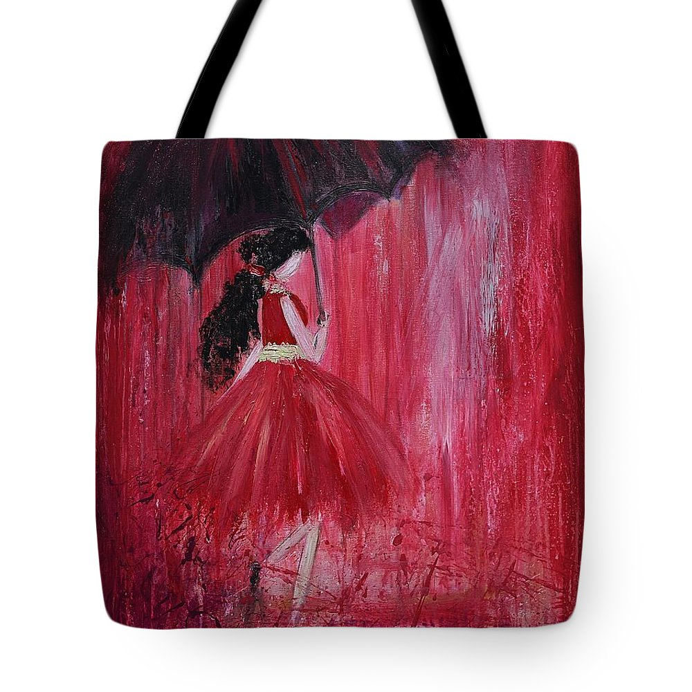 Rain Tote Bag featuring the painting If It Rains Will You Be There For Me by Maria Mitchell