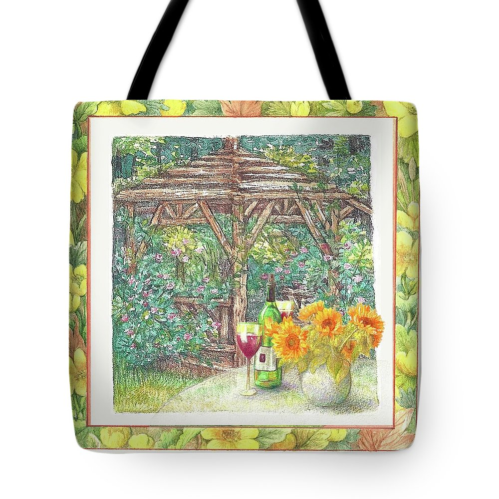 Sunflower Tote Bag featuring the painting Illustrated Sunflower Picnic by Judith Cheng