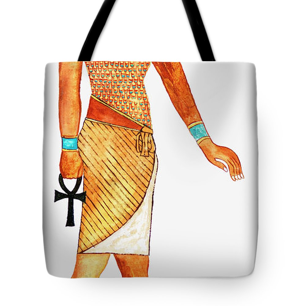 Watercolor Painting Tote Bag featuring the digital art Illustration Of Ancient Egyptian God Of by Dorling Kindersley