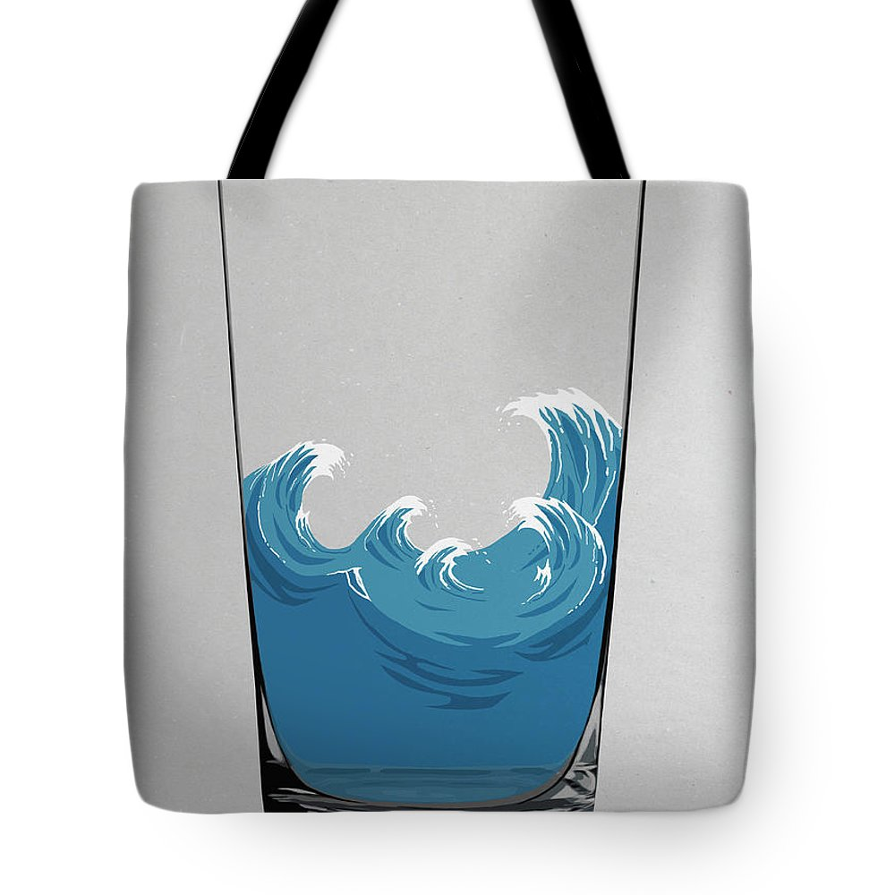 Concepts & Topics Tote Bag featuring the digital art Illustration Of Choppy Waves In A Water by Malte Mueller