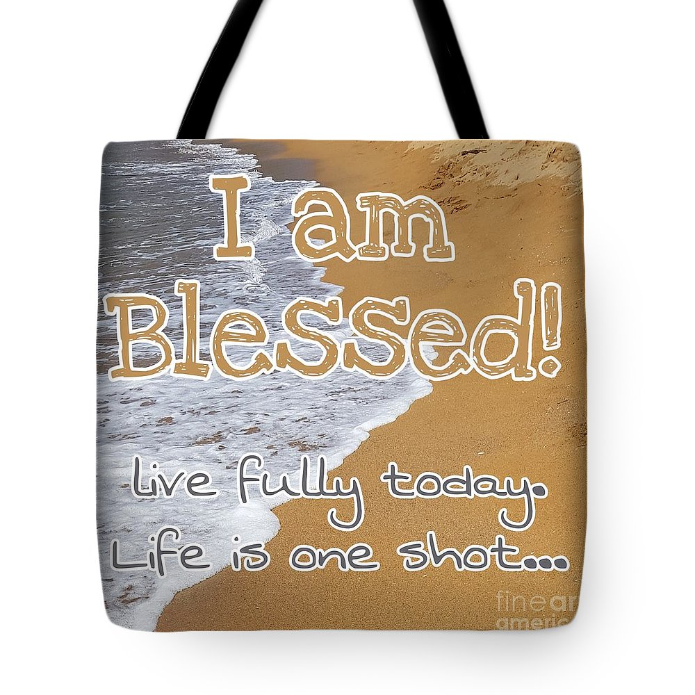 Cards Tote Bag featuring the digital art I'm Blessed by Paola Baroni