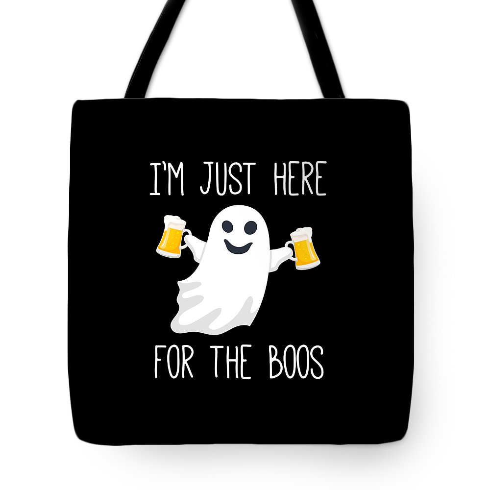 Funny Tote Bag featuring the digital art Im Just Here For The Boos Funny Halloween by Crypto Keeper