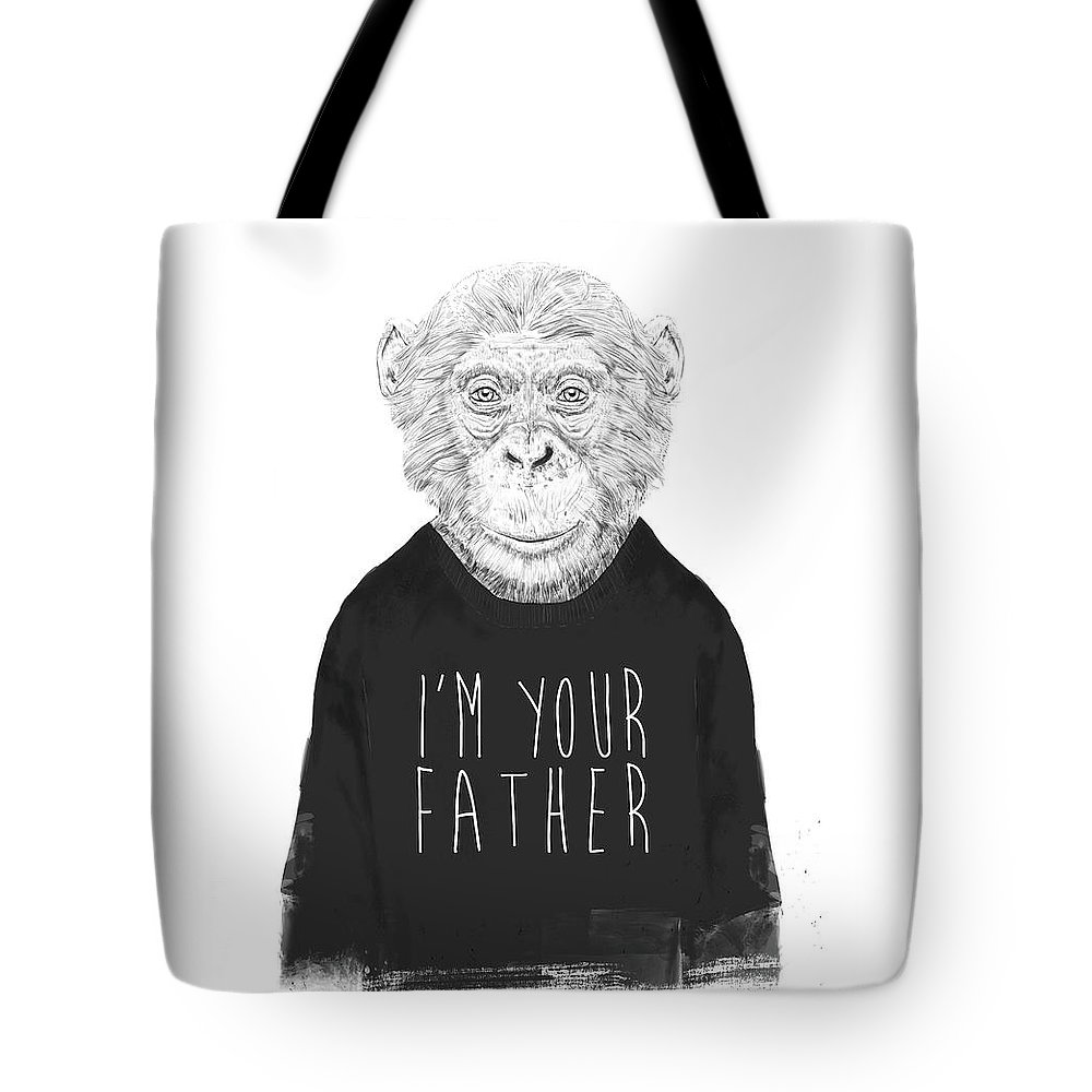 Monkey Tote Bag featuring the mixed media I'm Your Father by Balazs Solti