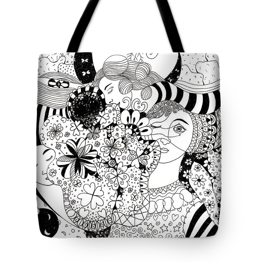 In Light And Dark By Helena Tiainen Tote Bag featuring the drawing In Light And Dark by Helena Tiainen