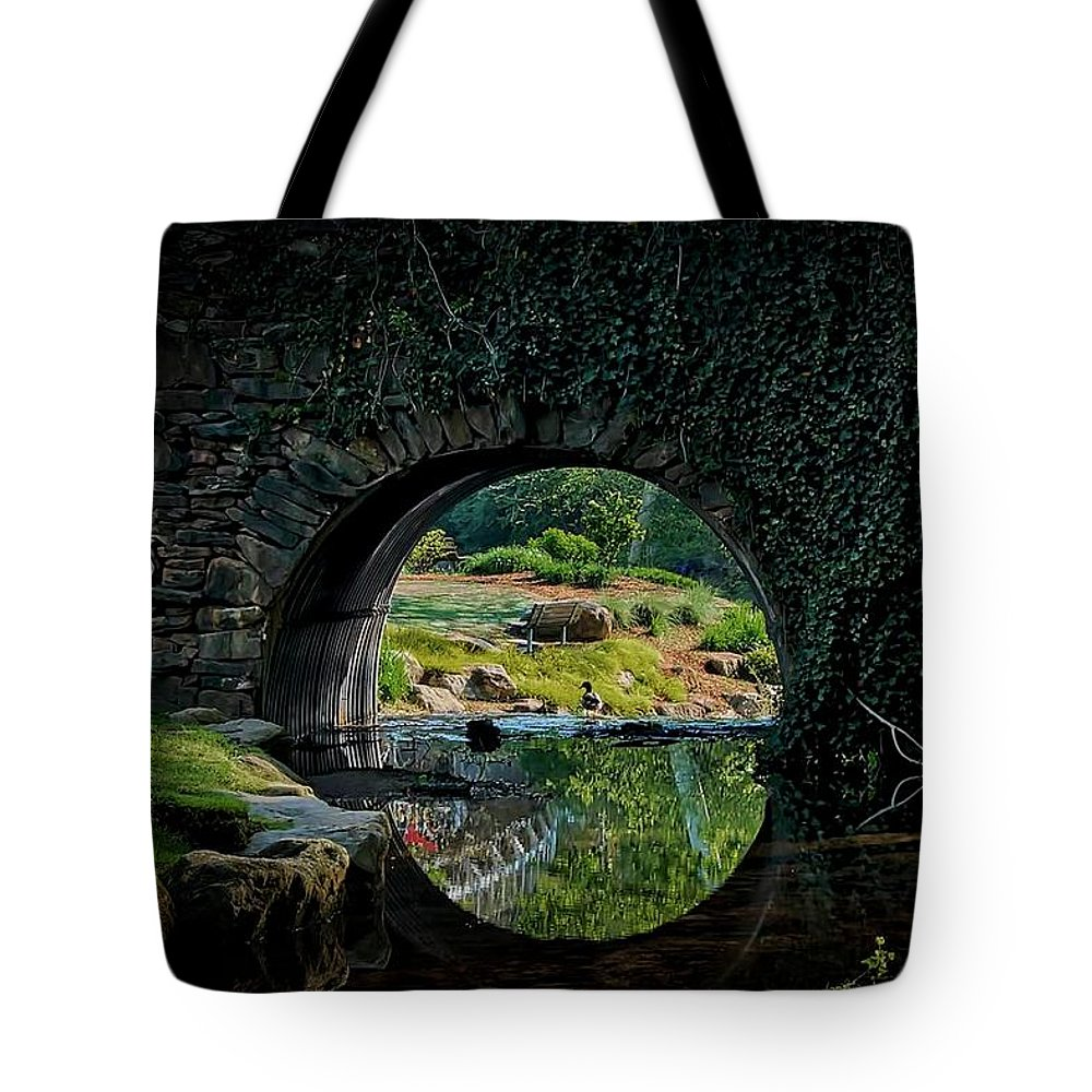 Bridge Tote Bag featuring the photograph In the Middle of A Reflection by Zayne Diamond Photographic