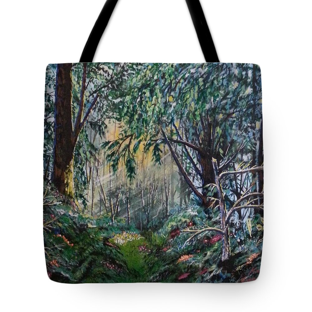 Land Scape Tote Bag featuring the painting In The Woods by Ken Farnsworth