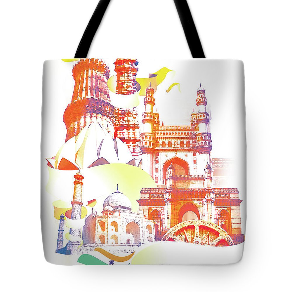Architectural Feature Tote Bag featuring the digital art Indian Monuments Collage by Anand Purohit