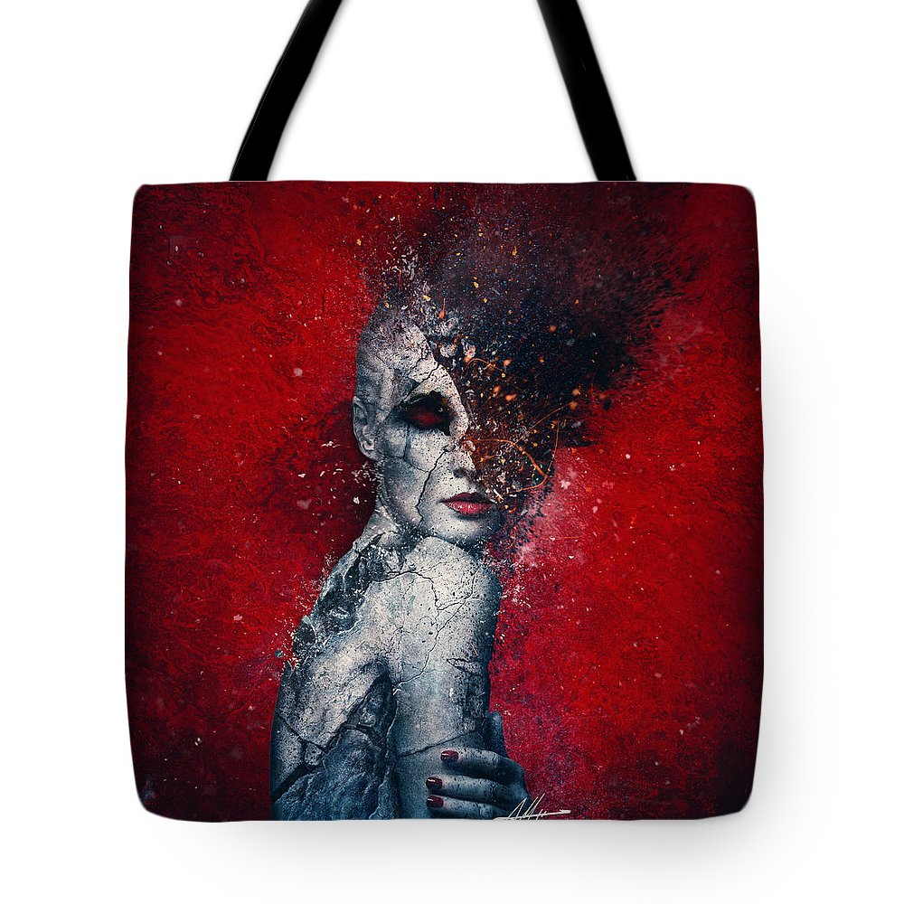 Red Tote Bag featuring the digital art Indifference by Mario Sanchez Nevado