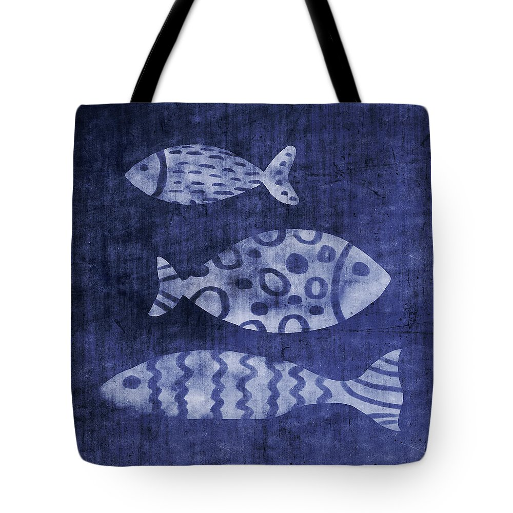 Fish Tote Bag featuring the mixed media Indigo Fish- Art By Linda Woods by Linda Woods