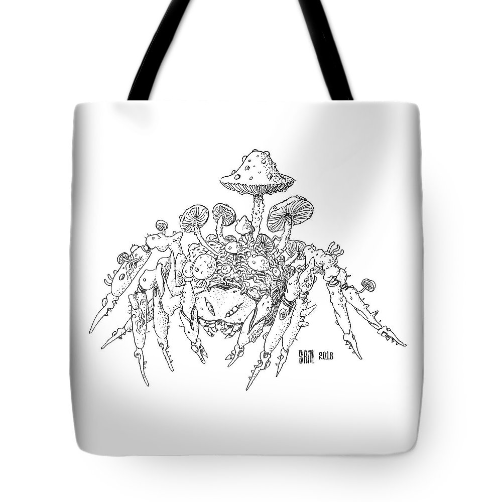 Spider Tote Bag featuring the drawing Infested Spider by Sami Matilainen