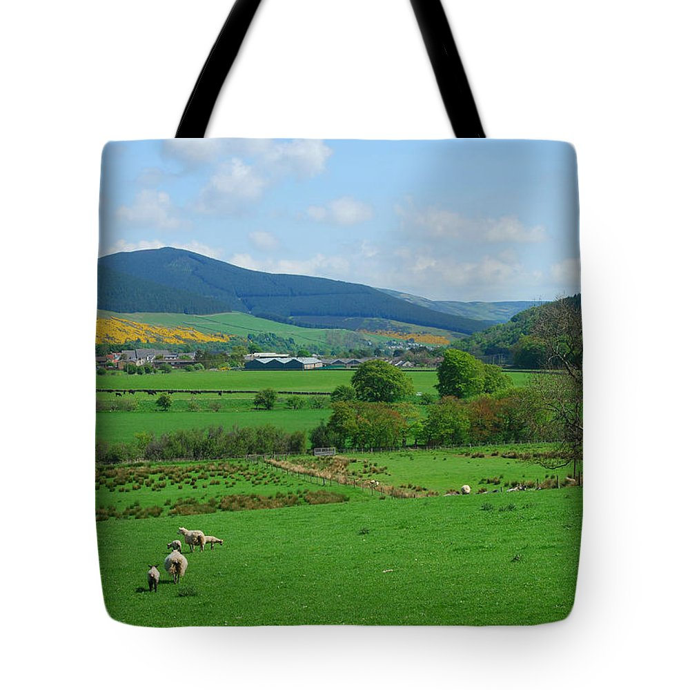 Innerleithen Tote Bag featuring the photograph Innerleithen And Tweed Valley Looking East by Victor Lord Denovan