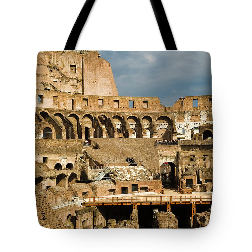 Arch Tote Bag featuring the photograph Interior Of The Colosseum, Rome, Italy by Juan Silva