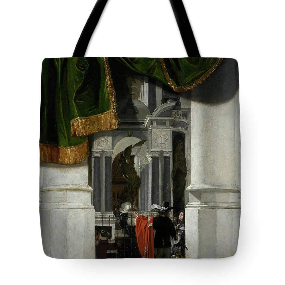 Emmanuel De Witte Tote Bag featuring the painting Interior Of The Nieuwe Kerk In Delft With The Tomb Of William The Silent by Emmanuel de Witte
