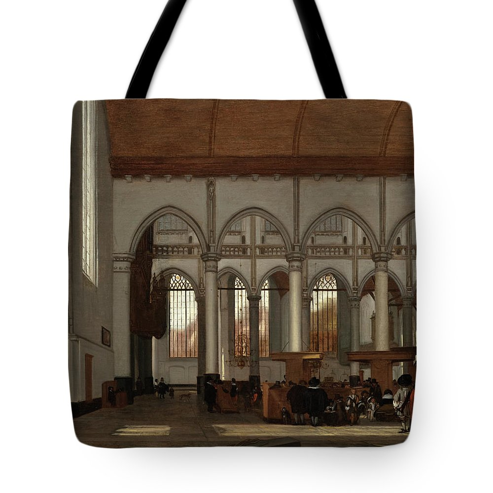 Emmanuel De Witte Tote Bag featuring the painting Interior Of The Oude Kerk Amsterdam by Emmanuel de Witte