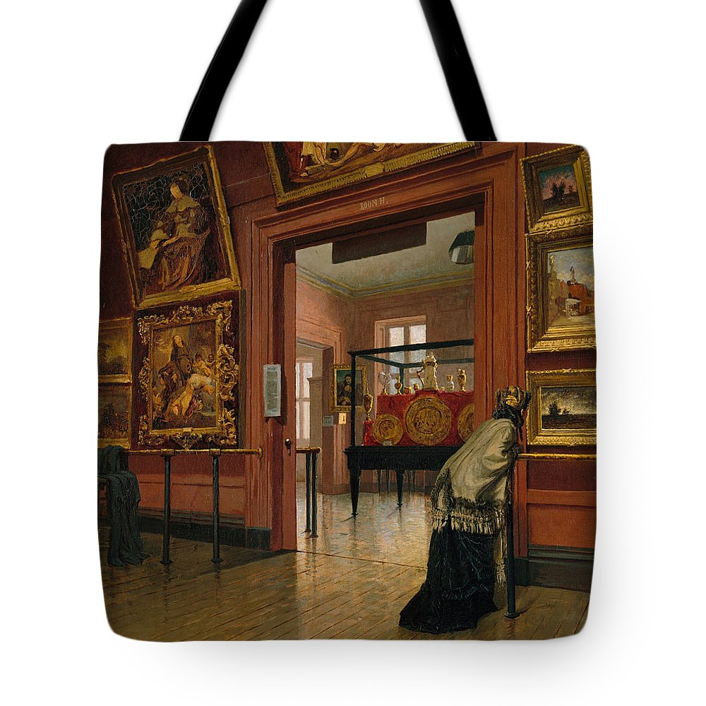 Frank Waller Tote Bag featuring the painting Interior View Of The Metropolitan Museum Of Art When In Fourteenth Street by Frank Waller