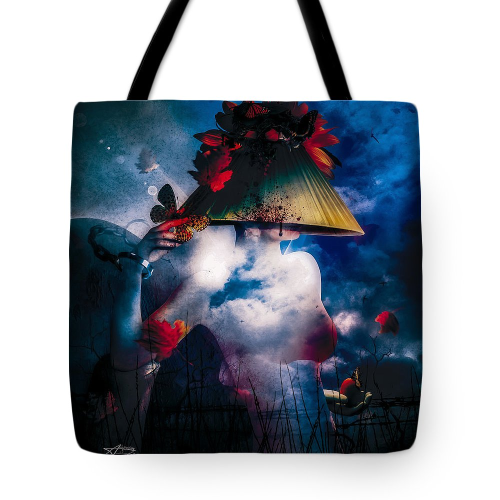 Gothic Tote Bag featuring the digital art Interlude by Mario Sanchez Nevado