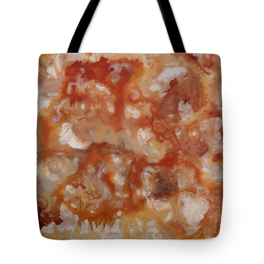 Orange Peach Umber Tan Beige Ivory Cream White Abstract Modern Contemporary Burnt Bronze Gold Tote Bag featuring the painting Internal Energy by Kelly Gowan