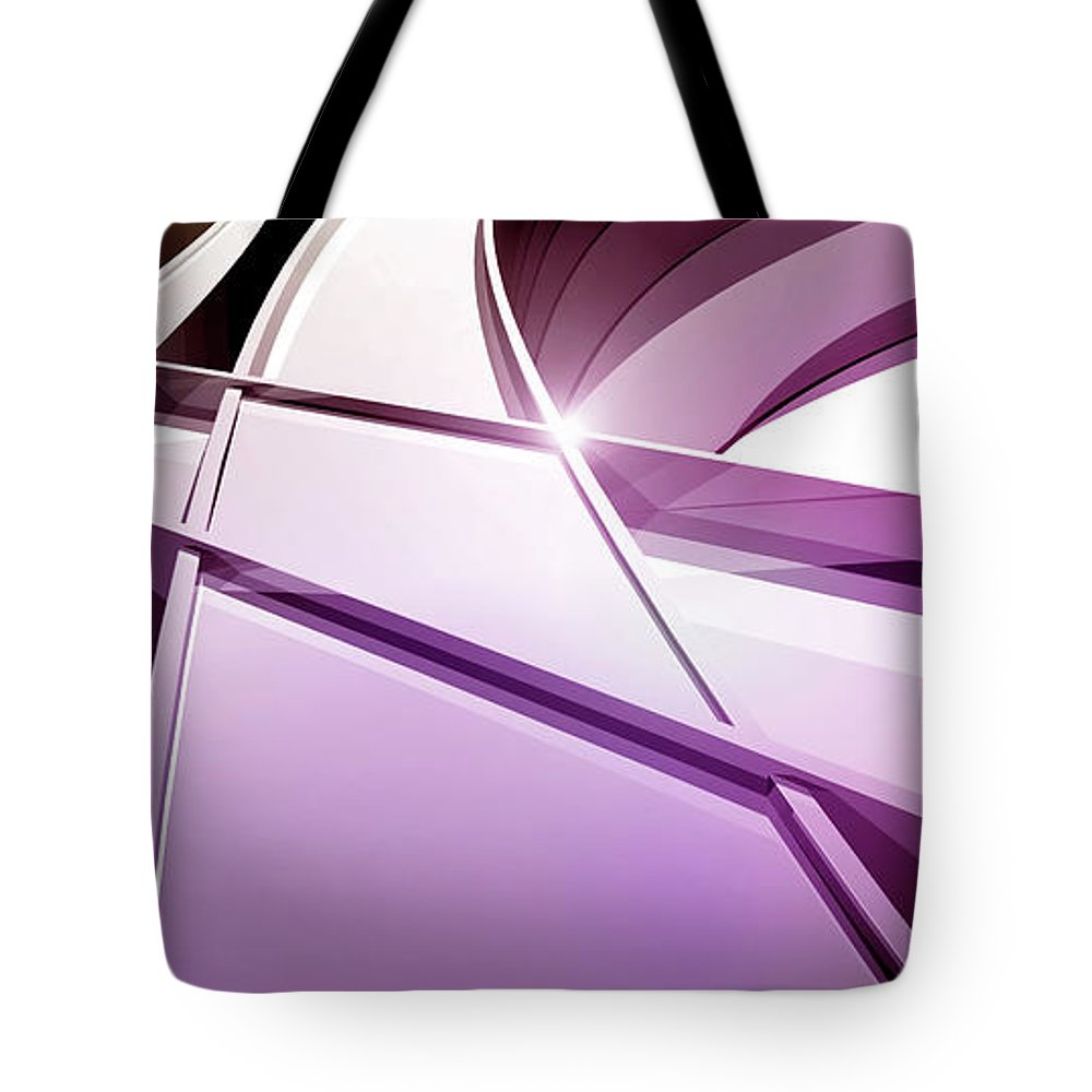 Curve Tote Bag featuring the digital art Intersecting Three-dimensional Lines In by Ralf Hiemisch