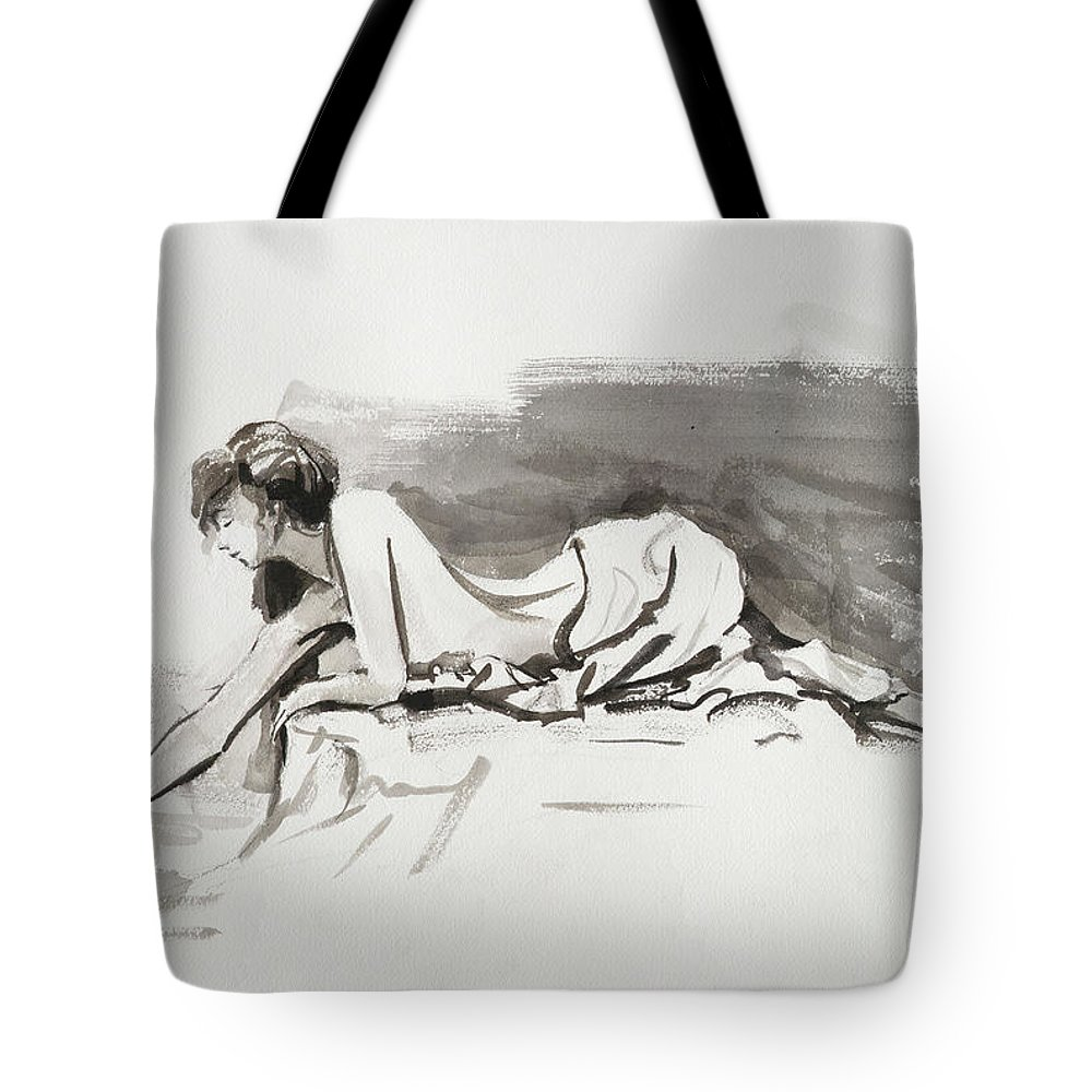 Woman Tote Bag featuring the painting Introspection by Steve Henderson