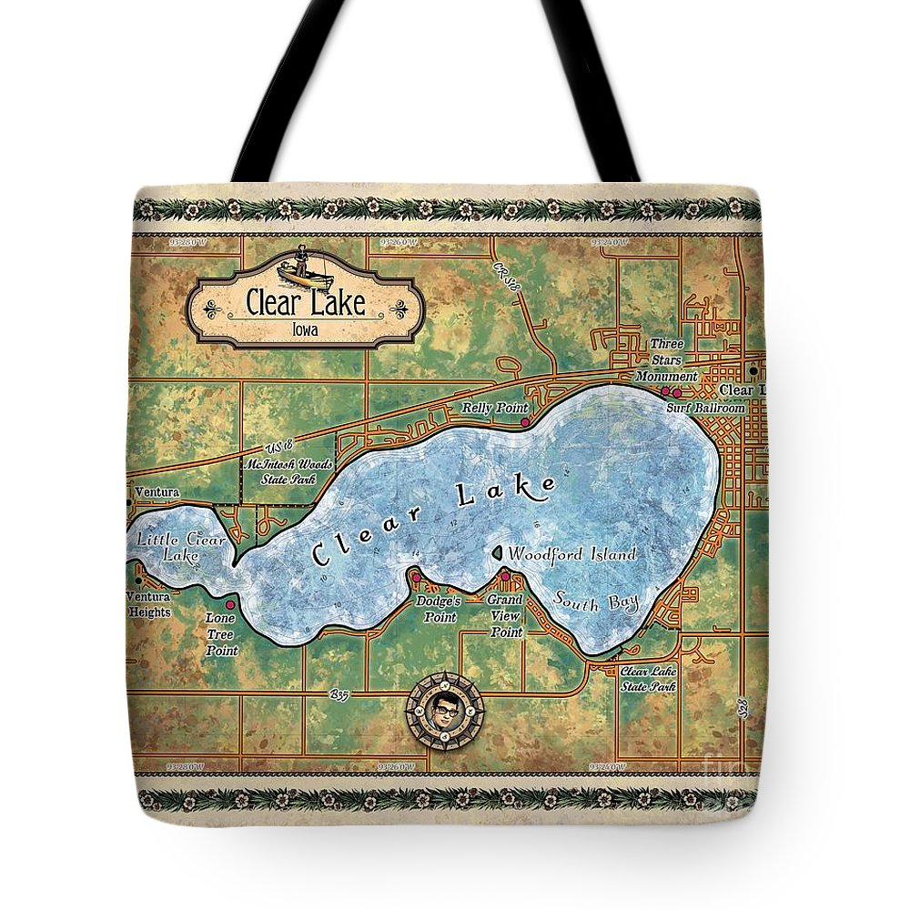 Iowa Clear Lake Tote Bag featuring the painting Iowa Clear Lake Custom Map Custom Map Art by Lisa Middleton