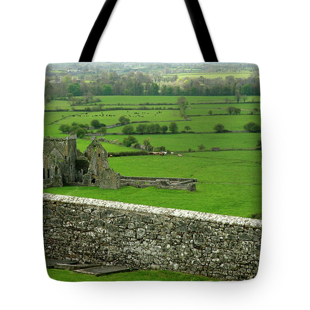 Scenics Tote Bag featuring the photograph Ireland Country Scape With Castle Ruins by Njgphoto