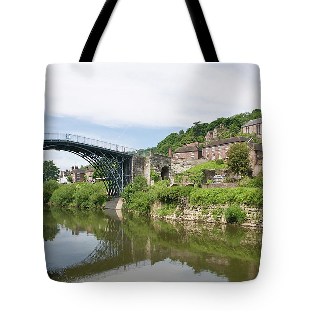 Arch Tote Bag featuring the photograph Ironbridge In Telford by Dageldog
