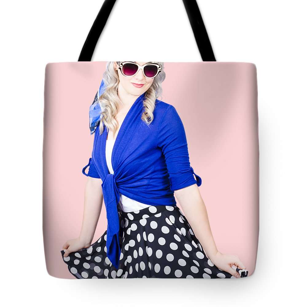 Revival Tote Bag featuring the photograph Isolated Pin-up Woman Posing by Jorgo Photography - Wall Art Gallery