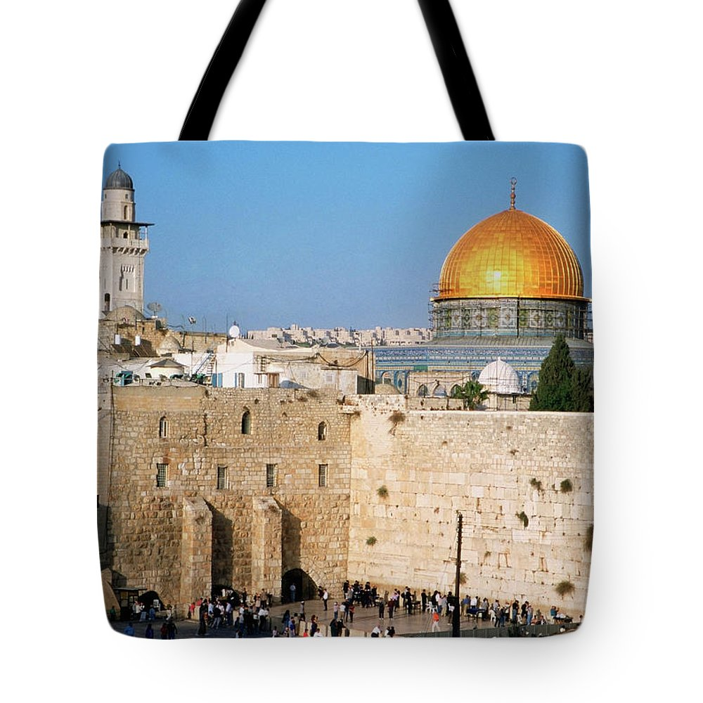 Dome Of The Rock Tote Bag featuring the photograph Israel, Jerusalem, Western Wall And The by Medioimages/photodisc