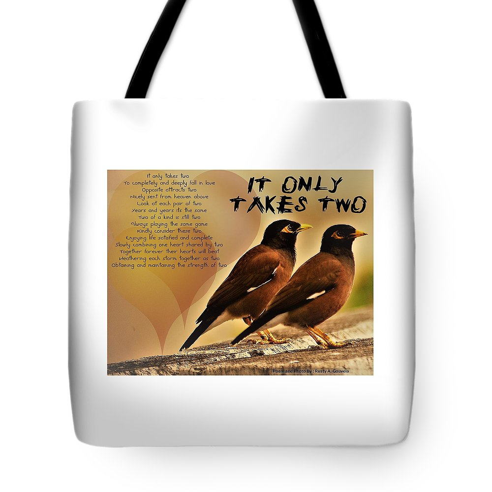 Birds Tote Bag featuring the digital art It Only Takes Two by Rusty Gouveia