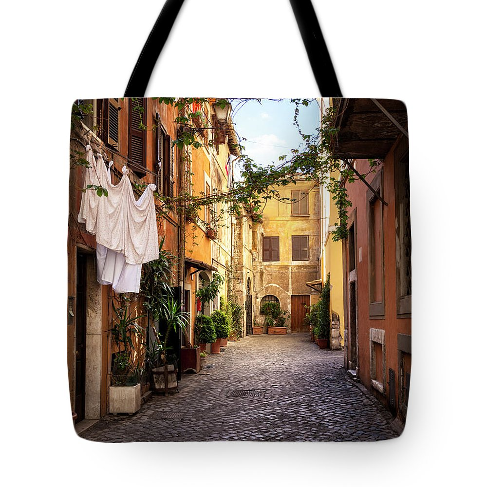 Roman Tote Bag featuring the photograph Italian Old Town Trastevere In Rome by Spooh