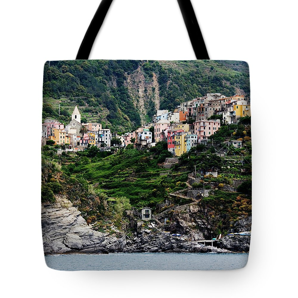 Town Tote Bag featuring the photograph Italy, Liguria, Corniglia, View From by Jeremy Woodhouse