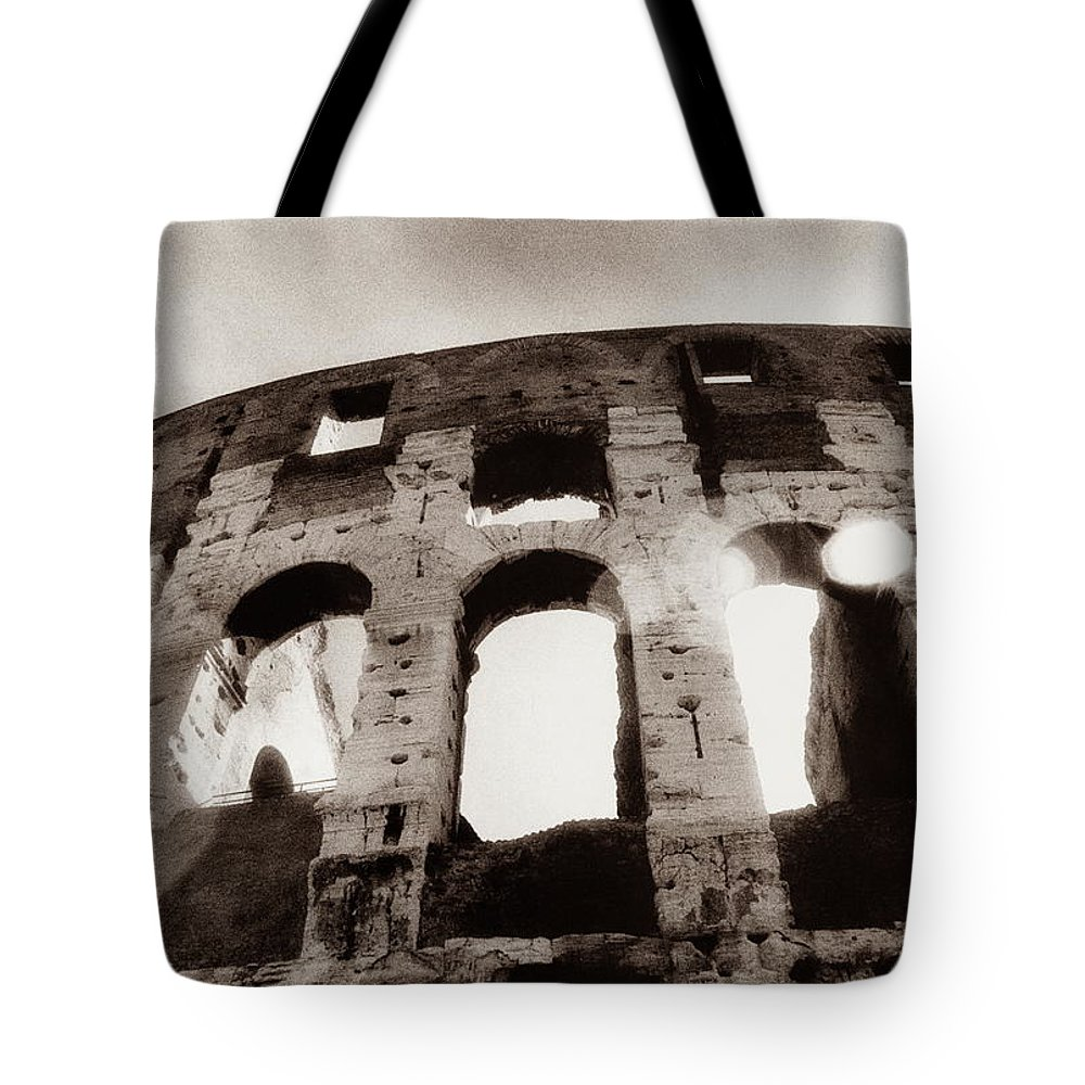 Roman Tote Bag featuring the photograph Italy, Rome, The Colosseum, Low Angle by Carolyn Bross