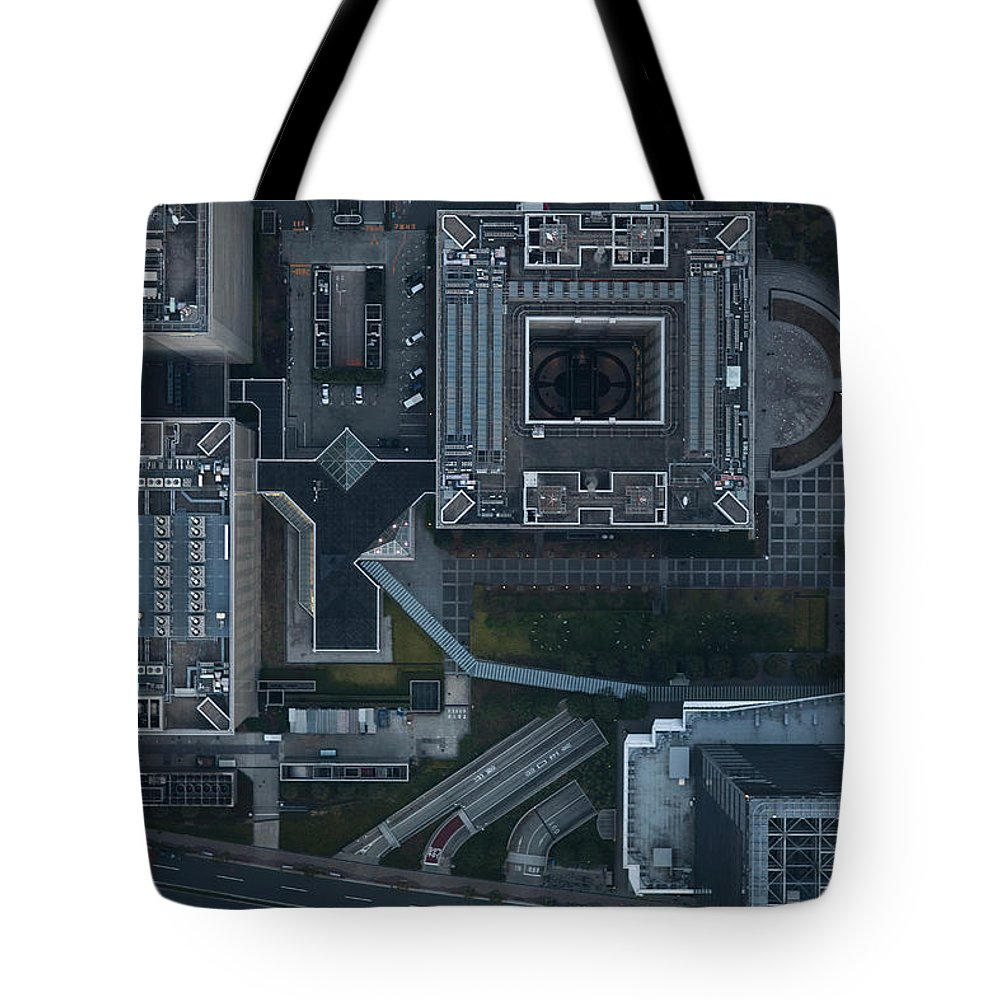 Two Lane Highway Tote Bag featuring the photograph Japan, Tokyo, Aerial View Of Shinagawa by Michael H