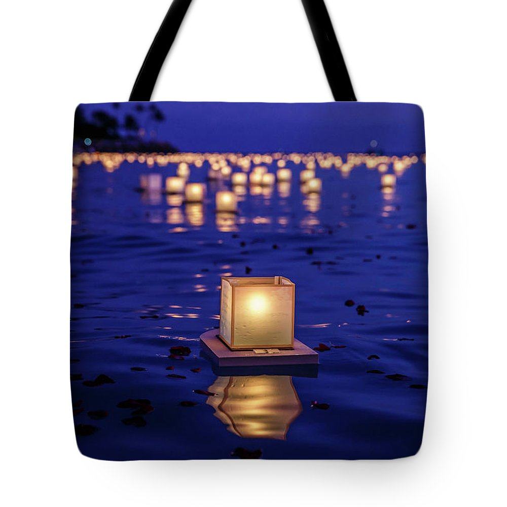 Honolulu Tote Bag featuring the photograph Japanese Floating Lanterns by Julie Thurston