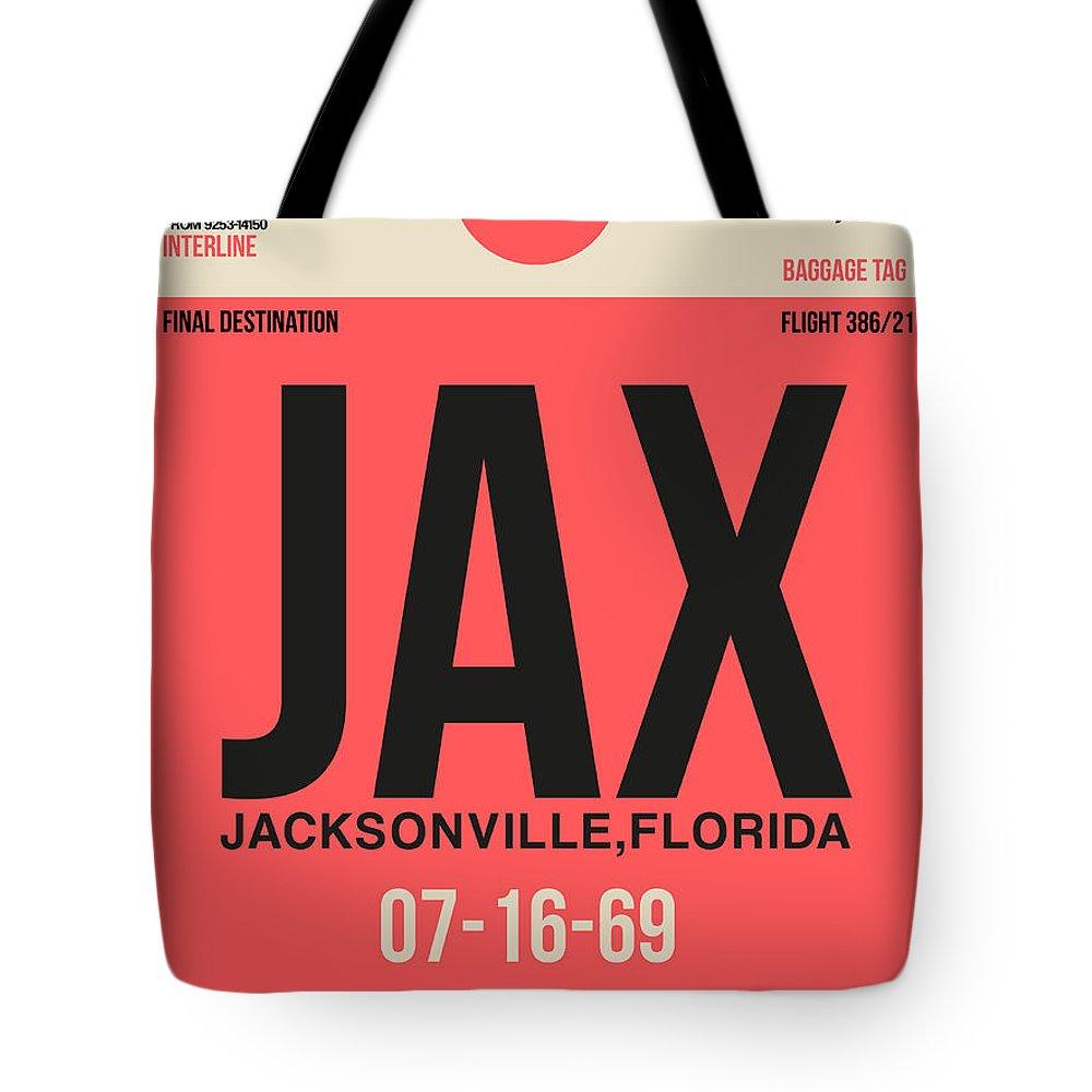 Jacksonville Tote Bag featuring the digital art Jax Jacksonville Luggage Tag I by Naxart Studio