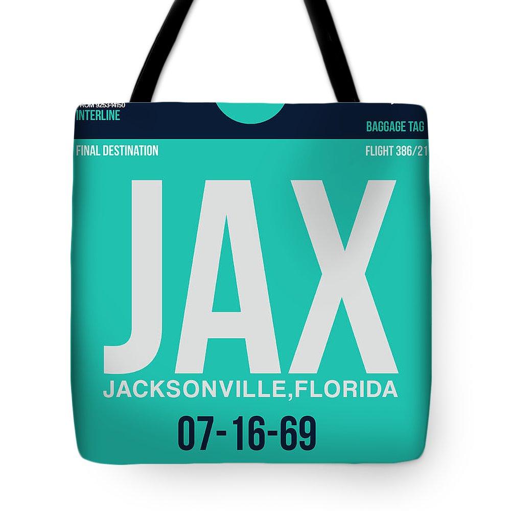 Jacksonville Tote Bag featuring the digital art Jax Jacksonville Luggage Tag II by Naxart Studio