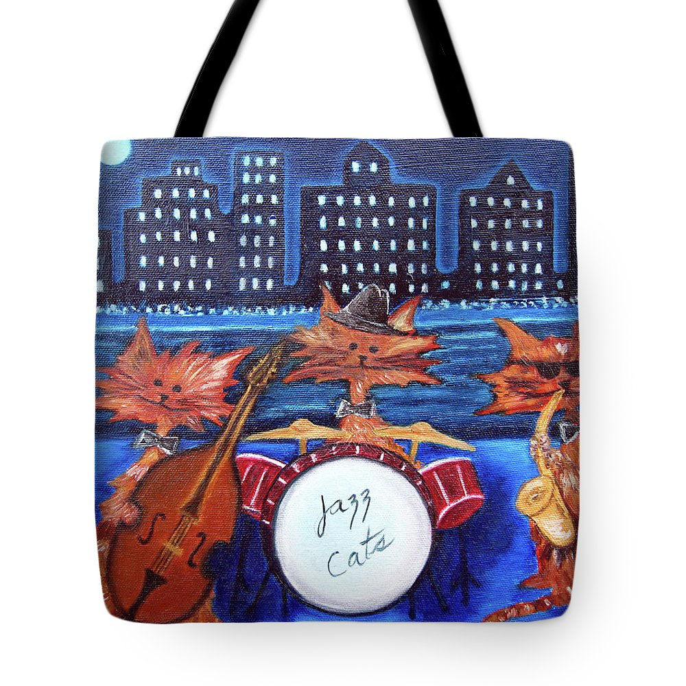 Cats Tote Bag featuring the painting Jazz Cats by Lisa Lorenz