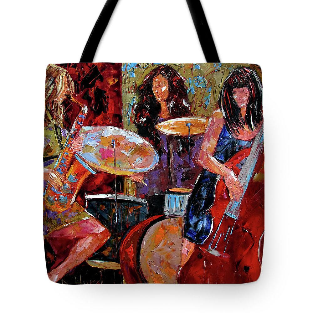 Women Tote Bag featuring the painting Jazzy Women by Debra Hurd