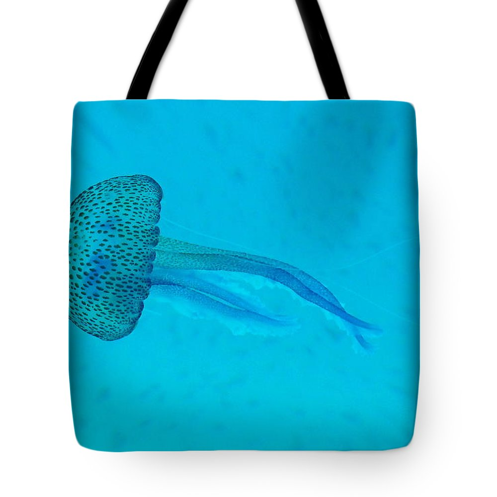 Underwater Tote Bag featuring the photograph Jellyfish In Wild by Sir Francis Canker Photography