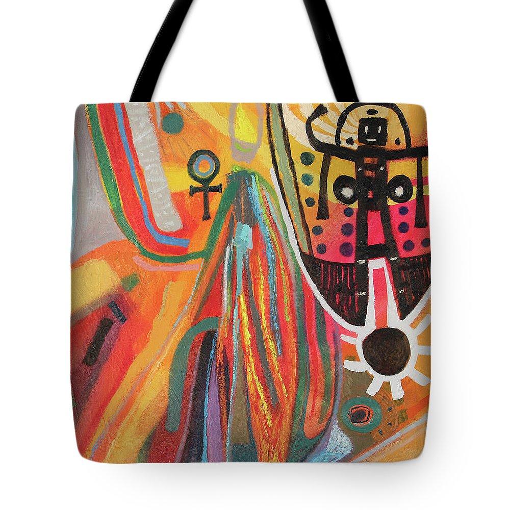 Jepri Tote Bag featuring the painting Jepri by Aldo Carhuancho herrera