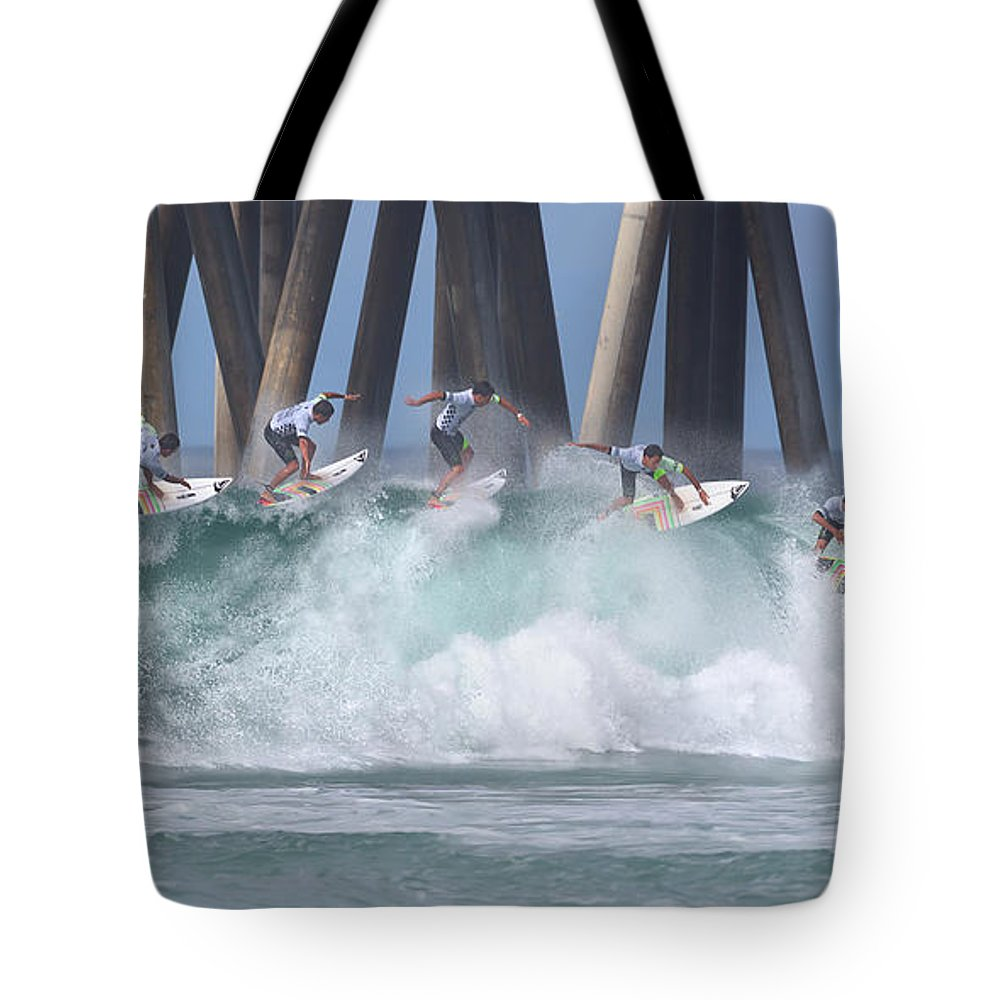 Surfing Tote Bag featuring the photograph Jeremy Flores Surfing Composite by Brian Knott Photography