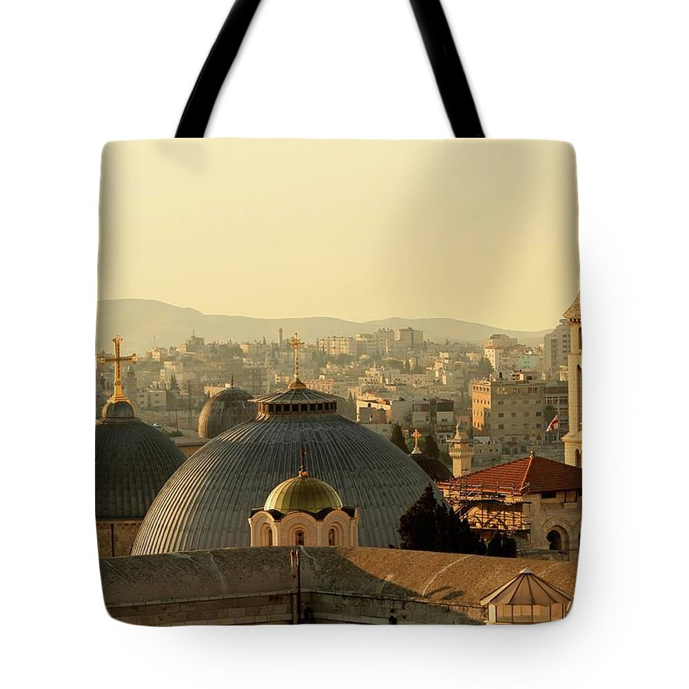 West Bank Tote Bag featuring the photograph Jerusalem Churches On The Skyline by Picturejohn